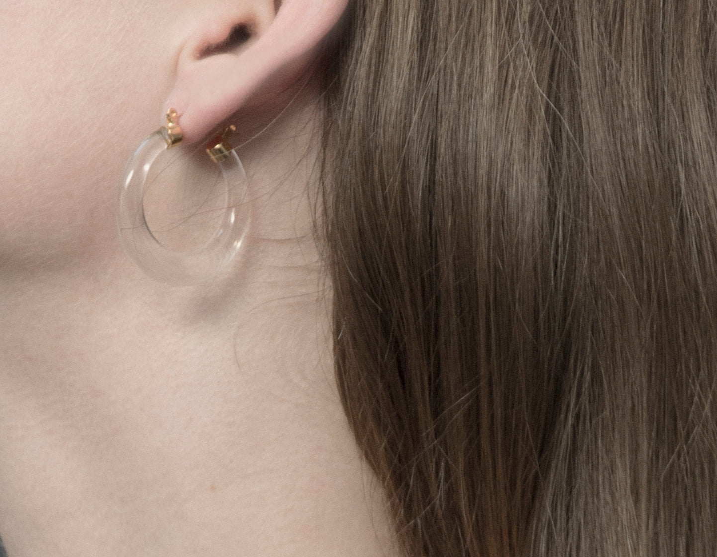 Gilded Clear Lucite Hoop Earrings