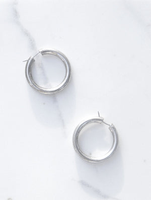 Vintage Taxco Silver Hoop Earrings