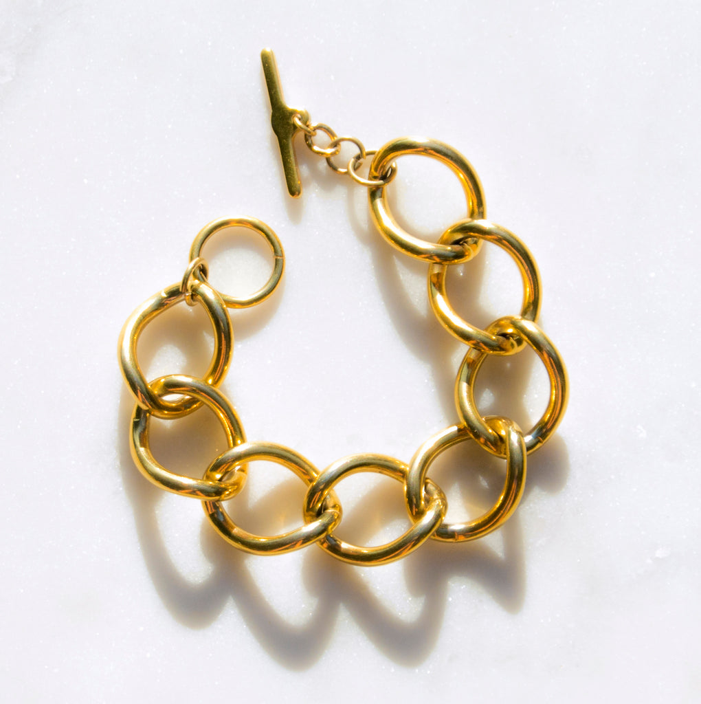 90s Gold Link Bracelet - Recollect Jewelry