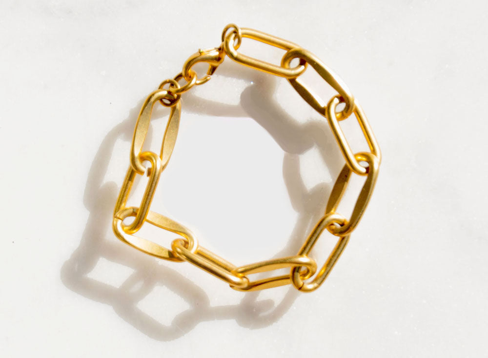 90s Oblong Gold Link Bracelet - Recollect Jewelry