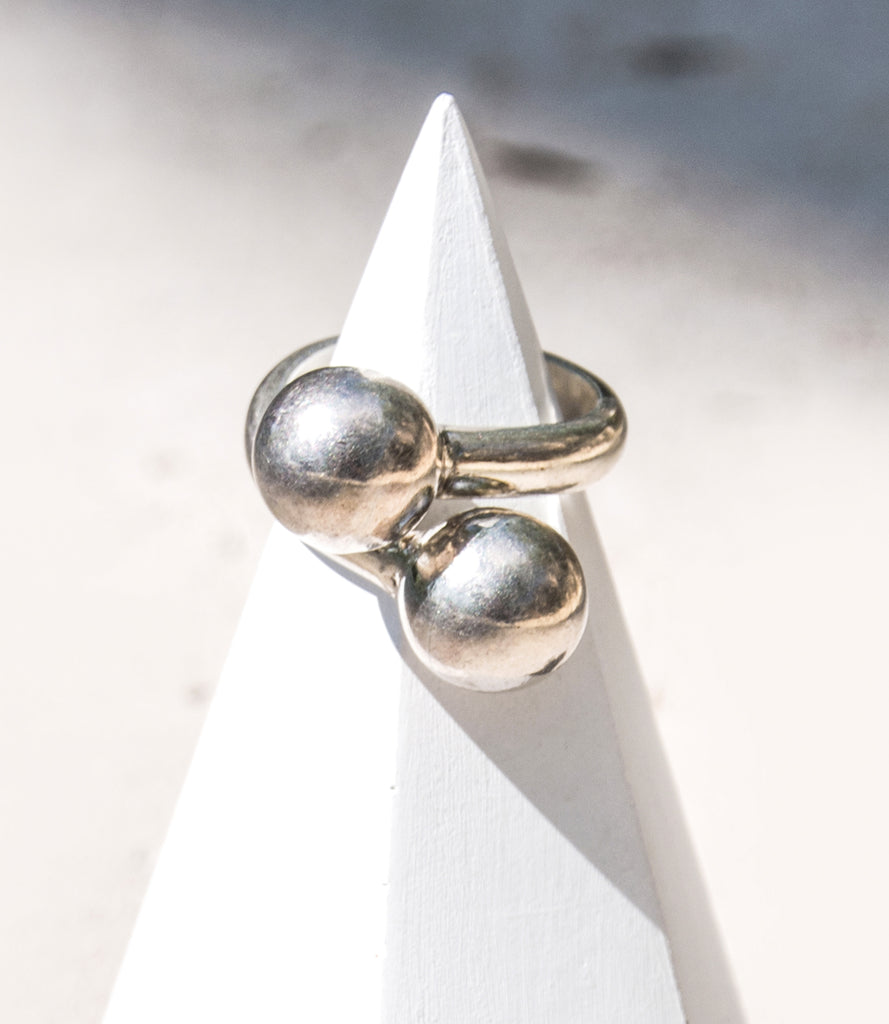 Double Sphere Silver Bypass Ring