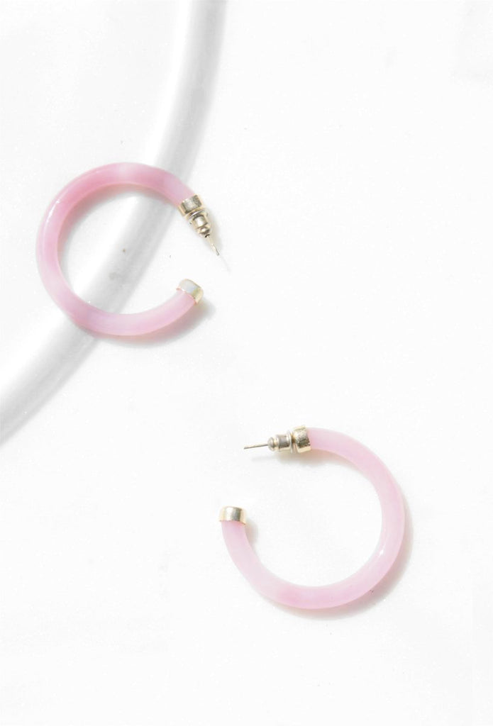 Pink Glass Hoop Earrings with 14K Gold - Recollect Jewelry