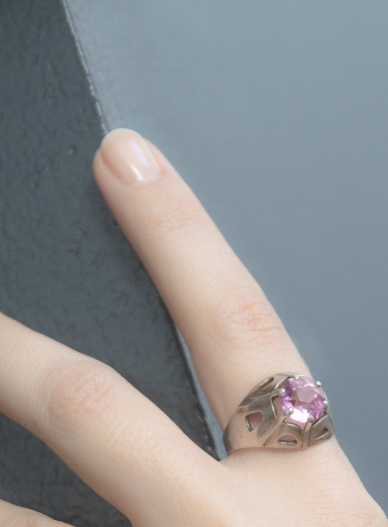 Beton Brut Pink Sapphire Ring is a 1930s Art Deco era piece from Prague. A very unique setting that reminds us of a cross over period between the Art Deco period and Brutalism.