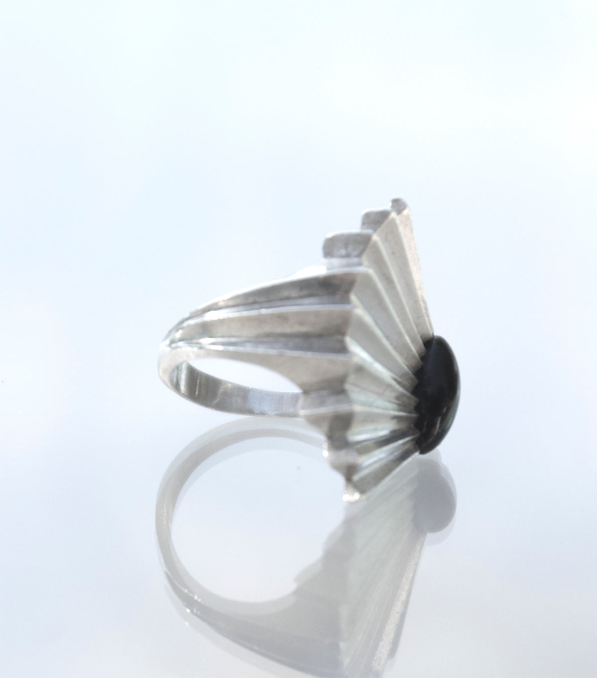 Black Onyx Enement Ring | Carrel Black Onyx And Silver Ring Recollectvintage