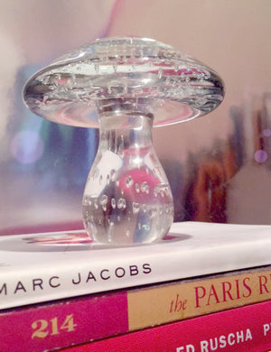 Glass Mushroom Sculpture detailed with air bubbles in a small size perfect for a coffeetable book topper from a Houston River Oaks estate.