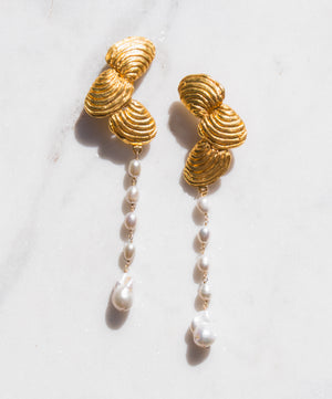 Gold Shell Earrings with Baroque Pearl