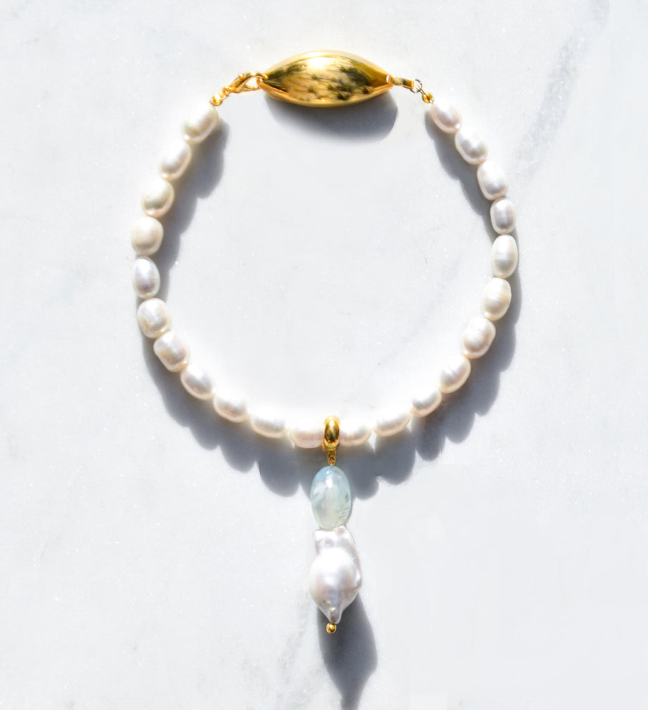 Pearl and Chalcedony Collar Necklace