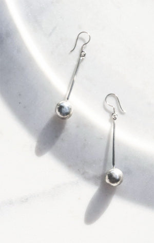 The Sierra Madre Earrings. Minimal 925 silver drop earrings with a sphere at the ending. Hook backing for pierced ears.