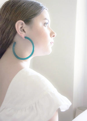 Oversized solid teal clear lucite round hoop earrings with hypoallergenic push backing for pierced ears.