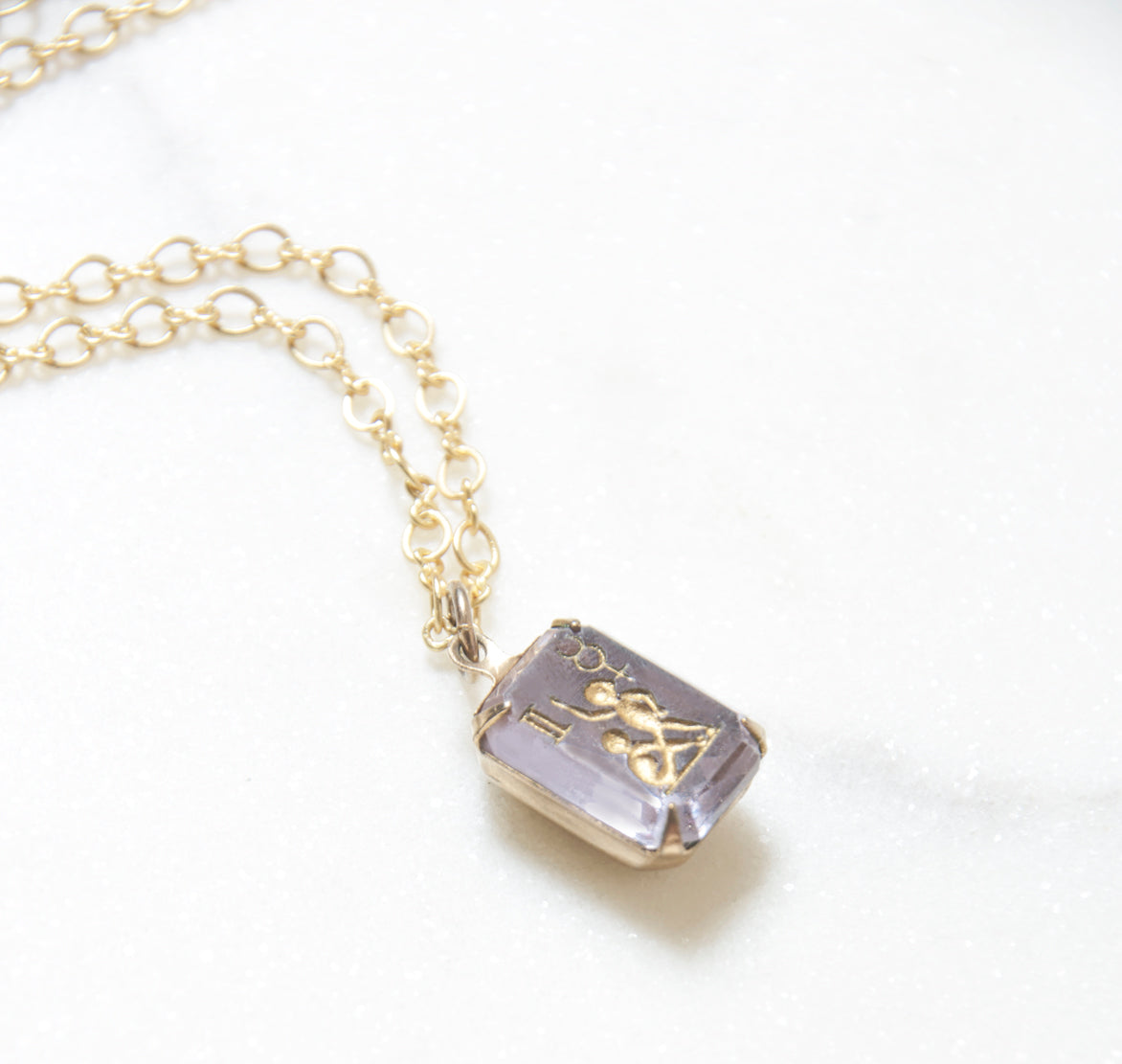Antique Gemini Pendant Necklace in Amethyst Intaglio Glass