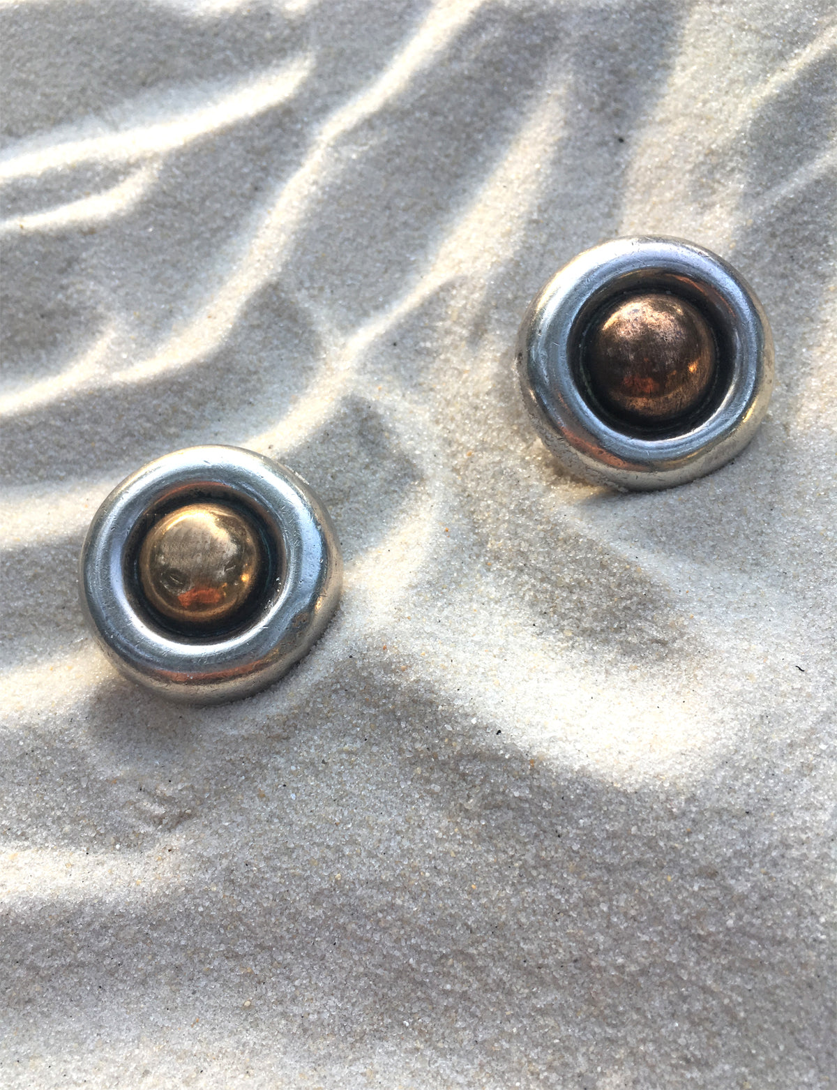 William Spratling 1940s Silver and Copper Dome Earrings