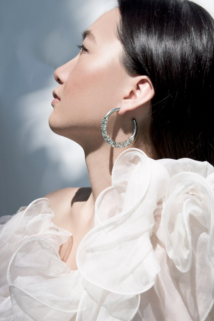 Amani Silver Hoop Earrings - Recollect Jewelry