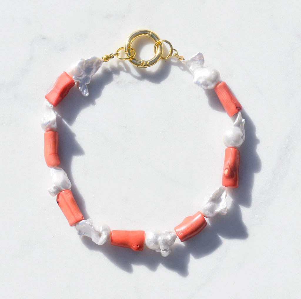 Baroque Pearl and Coral Collar Necklace