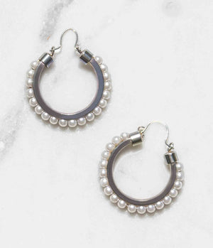 Bell Jar Pearl Hoop Earrings
