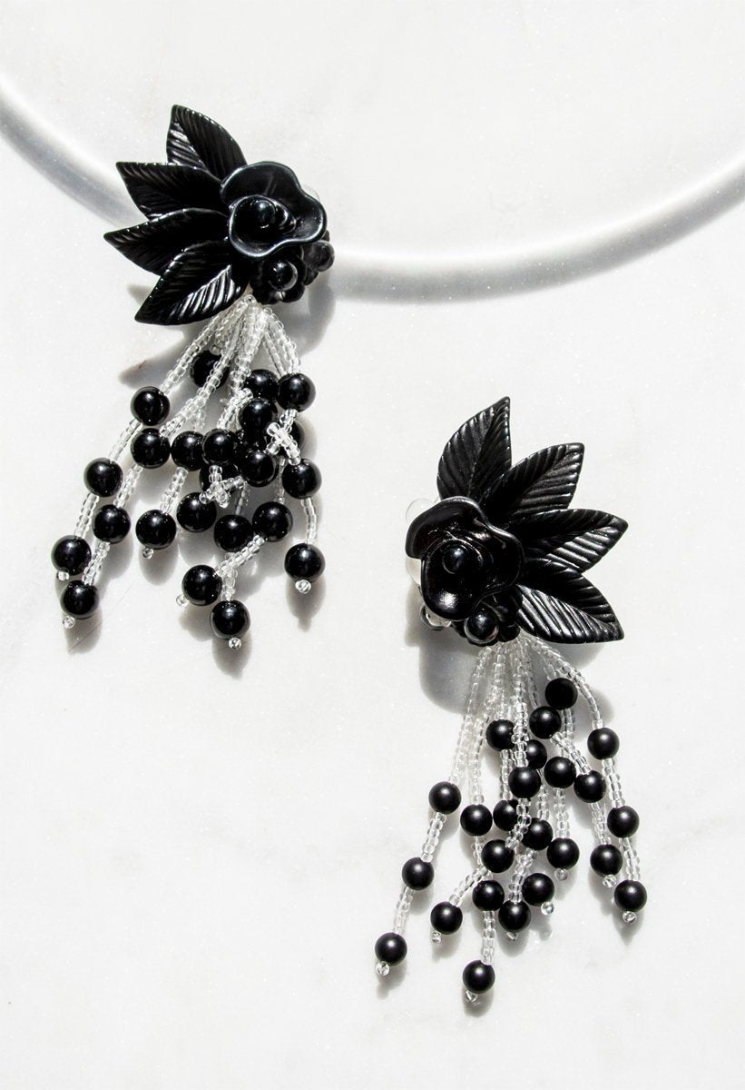 Black Floral and Clear Lucite Earrings