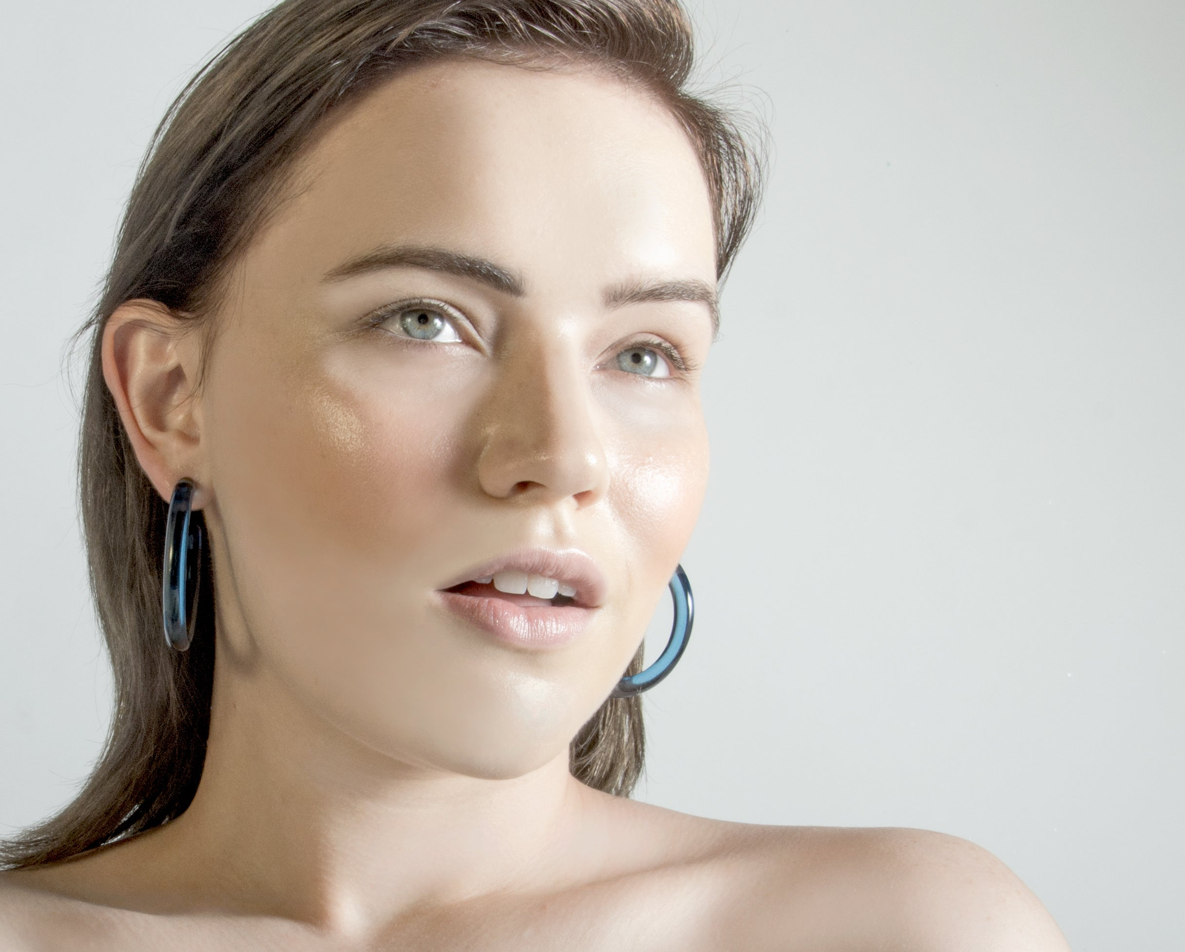 2 Inch Lucite Hoop Earrings in Lapis