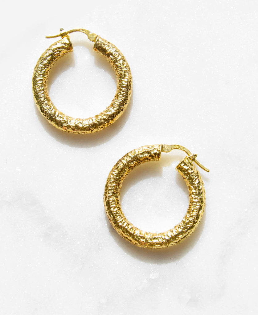 Brutalist Gold Hoop Earrings - Recollect Jewelry