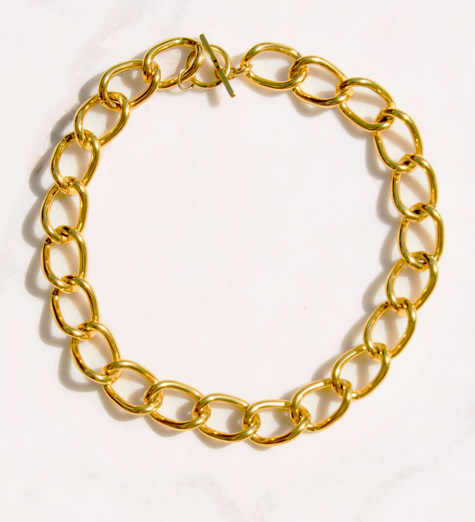 Chainlink Gold Collar Necklace - Recollect Jewelry