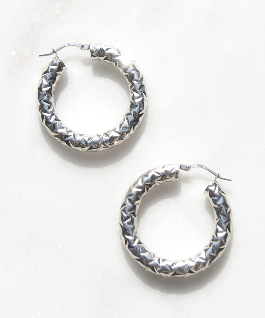 Diamond Back Silver Hoops - Recollect Jewelry