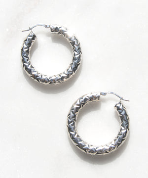 Diamond Back Hoops in 925 Silver - Recollect Jewelry