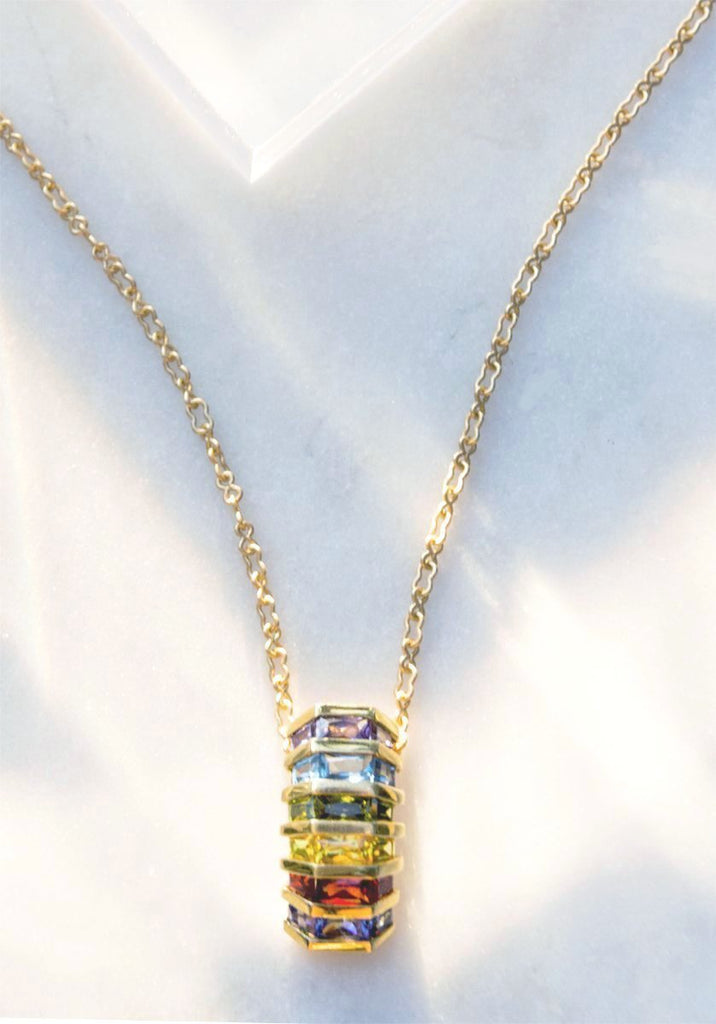 14k gold pendant necklace with a vertical array of Iolite, Amber, Citrine, Peridot, Blue Topaz, and Amethyst. Made to order, please allow 2-3 weeks for delivery.
