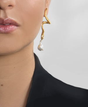 Baroque Pearl Serpent Earrings