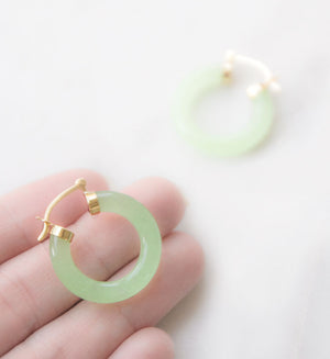 Jade Hoop Earrings in 14k Gold | Recollect Jewelry