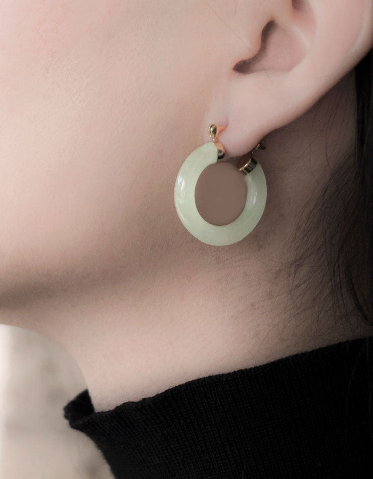Jade Hoop Earrings in 14k Gold