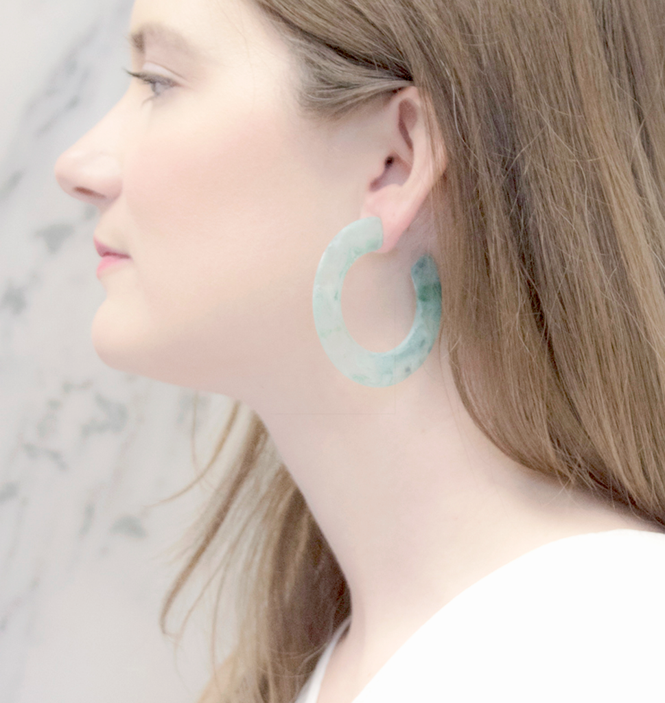 Jade Marble Lucite Hoop Earrings - Recollect Jewelry