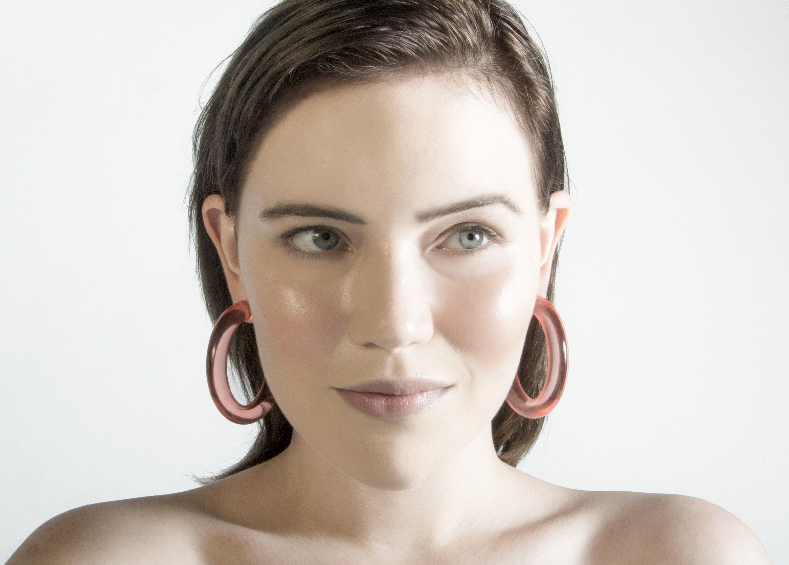 Lucite Hoop Earrings in Rose Quartz - Recollect Jewelry