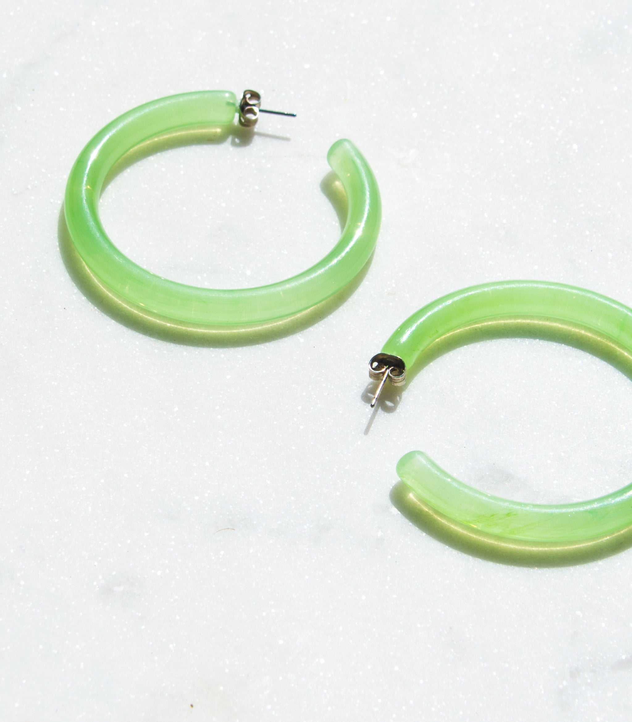 2 Inch Lucite Hoop Earrings in Lime