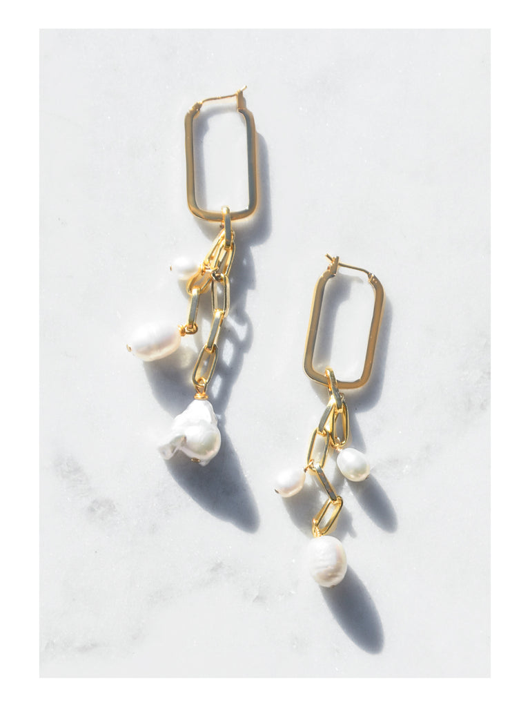 Mixed Pearl Gold Drop Earrings