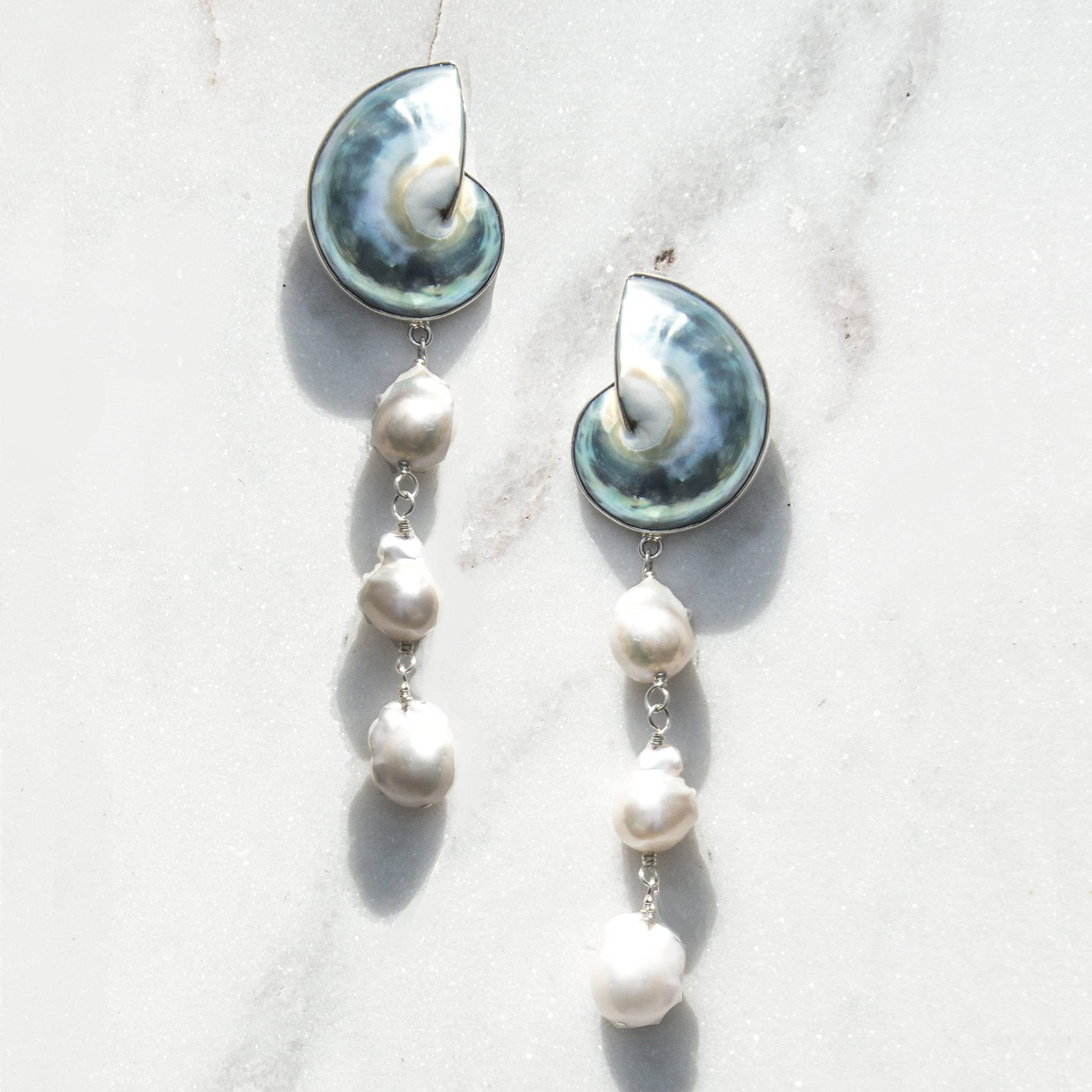 Nautilus Shell Earrings with Baroque Pearls