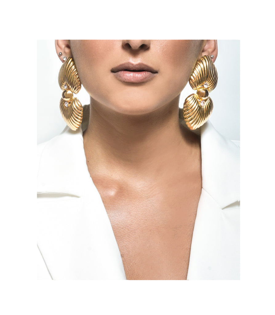 Oversized Gold Crystal Earrings