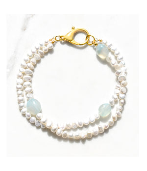 Pearl and Chalcedony Double Strand Necklace