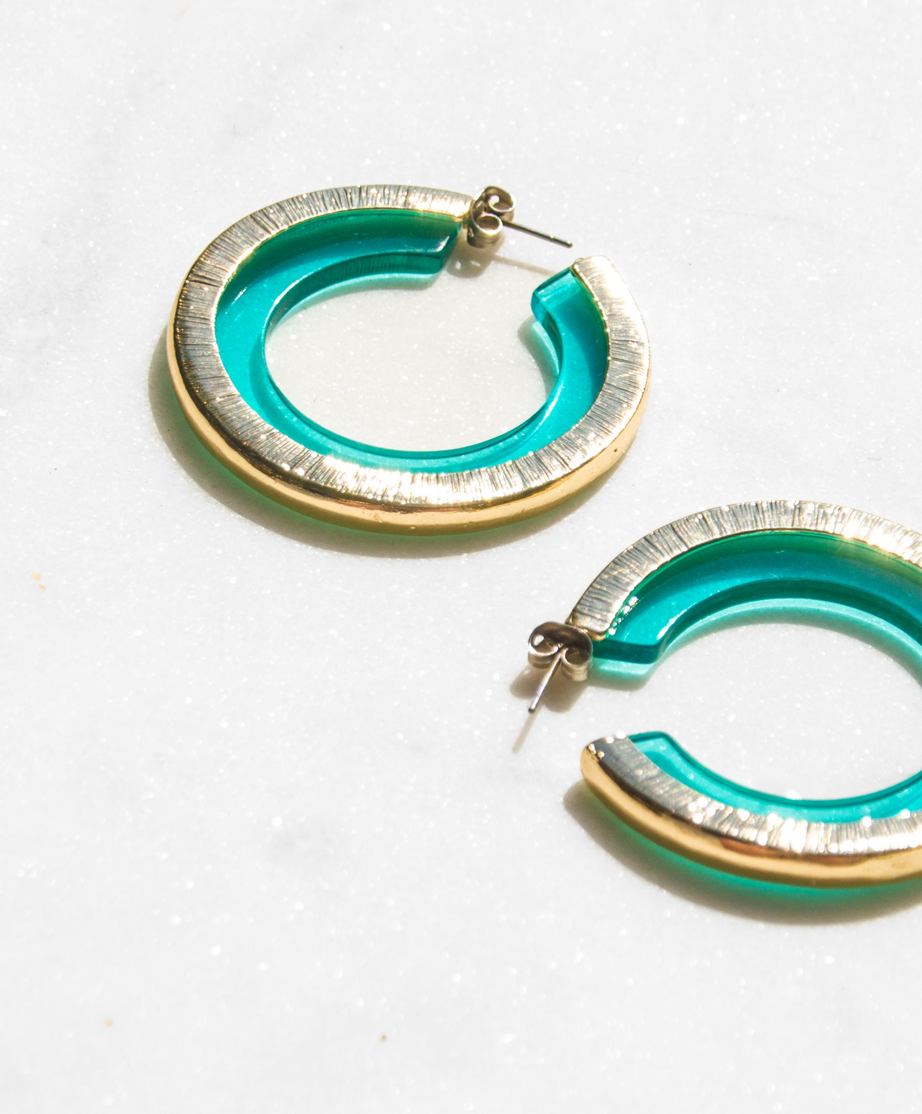 Soleil Clear Lucite Hoop Earrings in Water