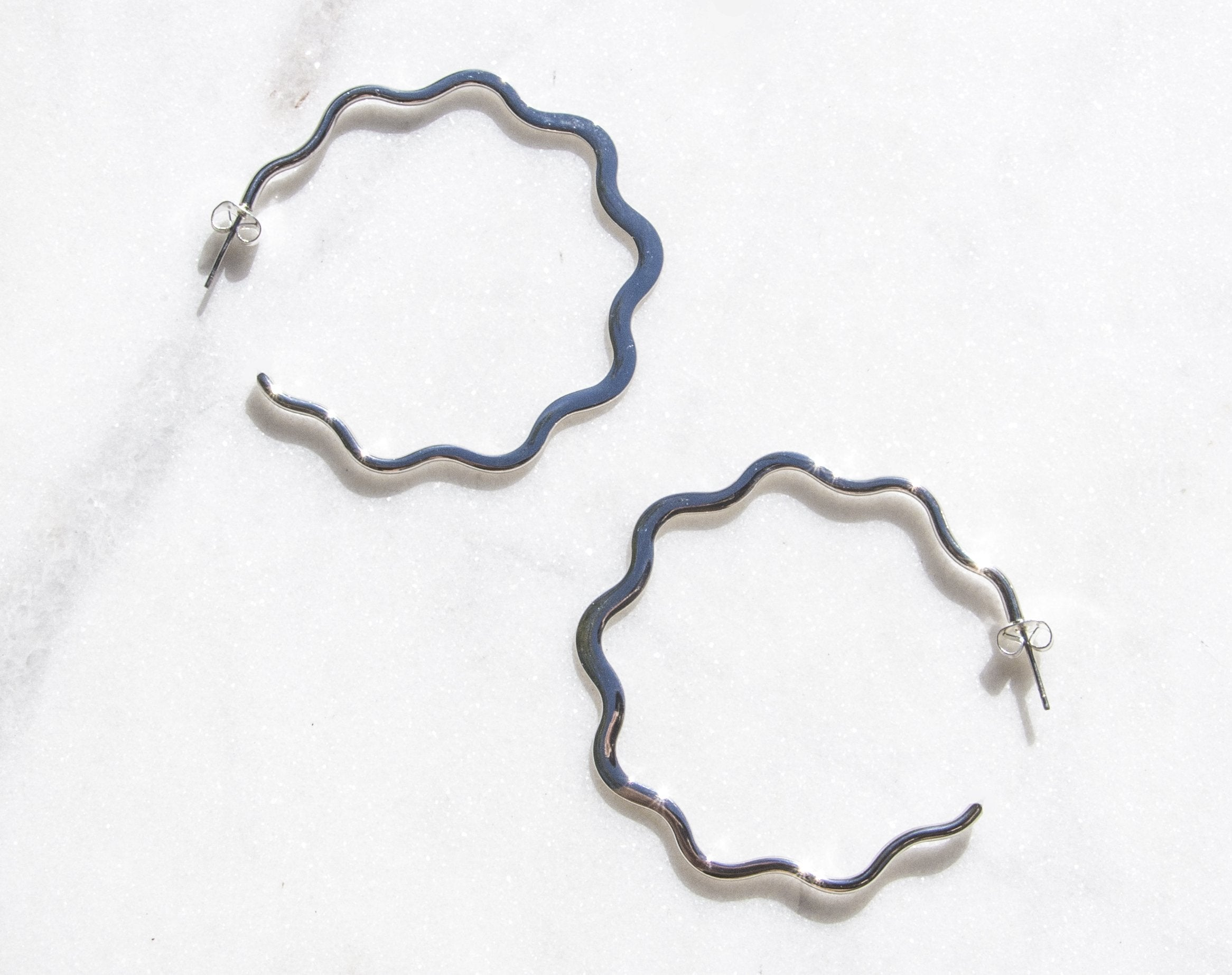 Squiggle Silver Hoop Earrings | Recollect Jewelry