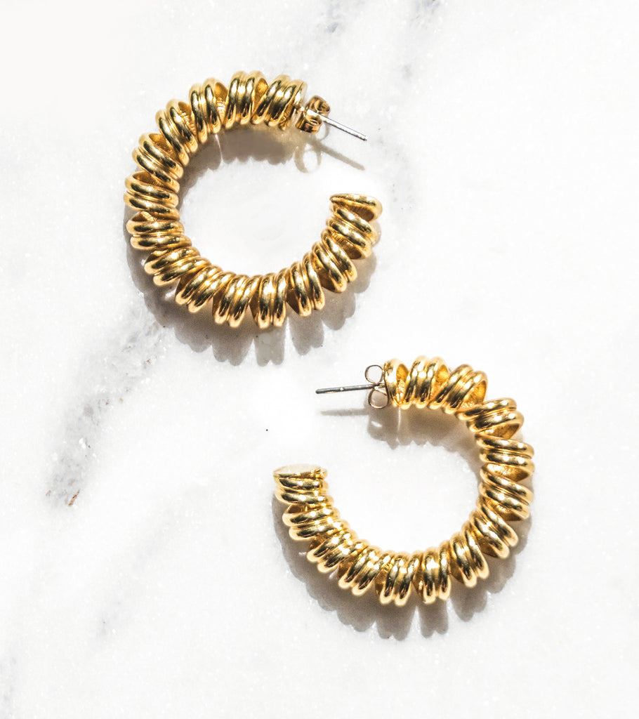 Telephone Gold Plated Hoop Earrings