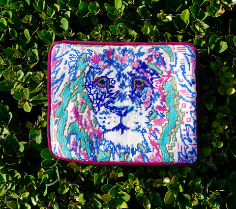 Contemporary Needlepoint Lily the lion