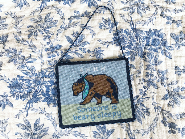 Benjamin The Bear Takes A Nap Contemporary Needlepoint Baby Sign