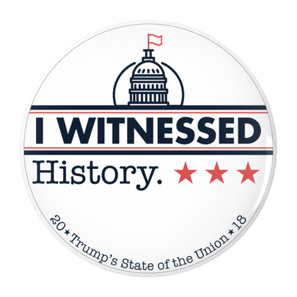 I Witnessed History- Pin-Back Buttons (white logo)