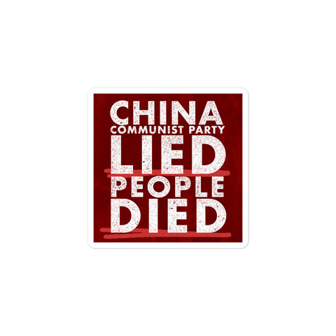 China Lied People Died Sticker