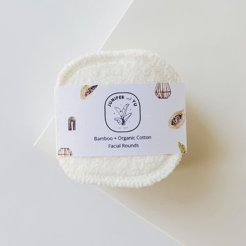 cream colored bamboo and cotton reusable face rounds