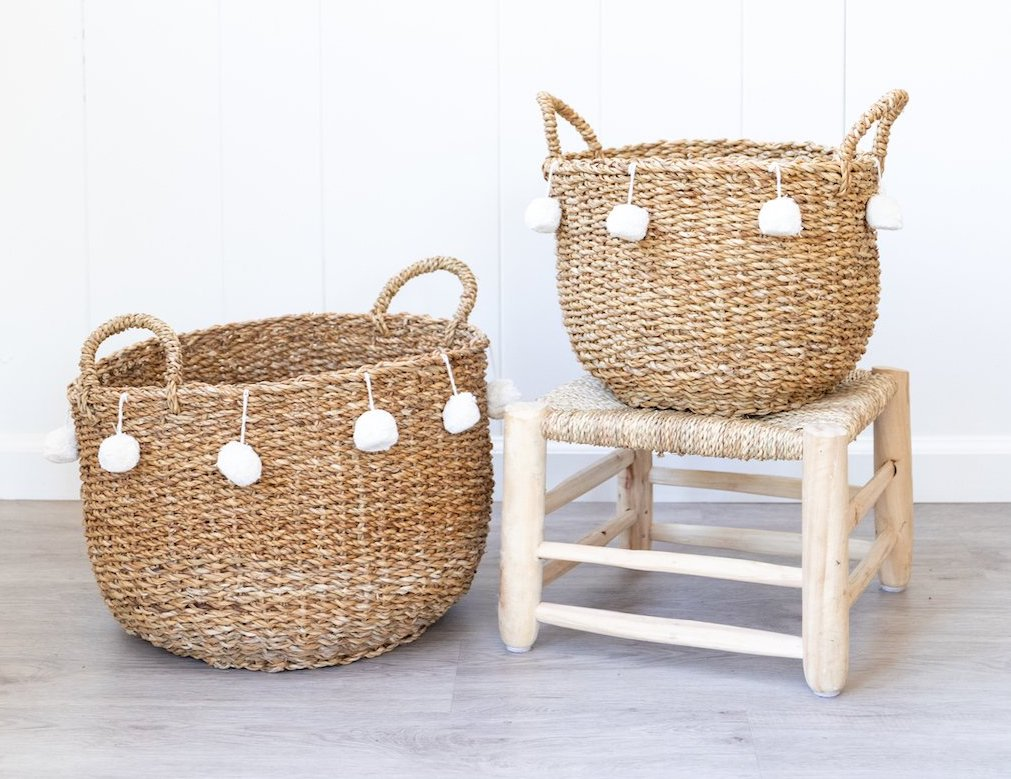natural baskets with white pom poms