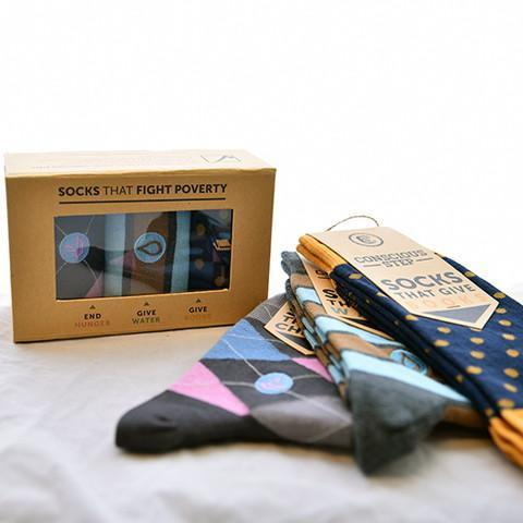 colorful sock gift set in a brown box