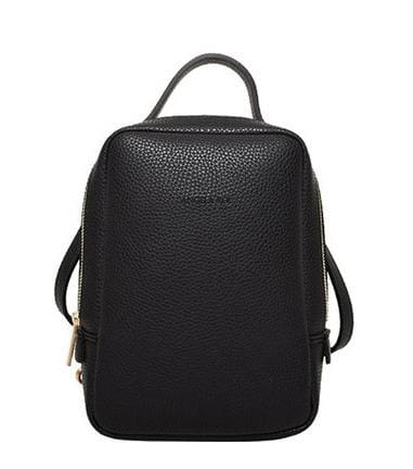 black vegan backpack with top handle and gold hardware