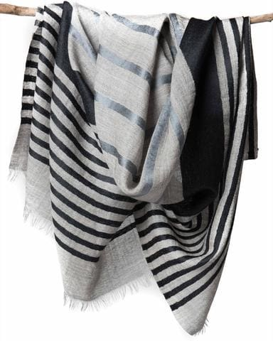 elegant gray scarf with silver and navy blue stripes