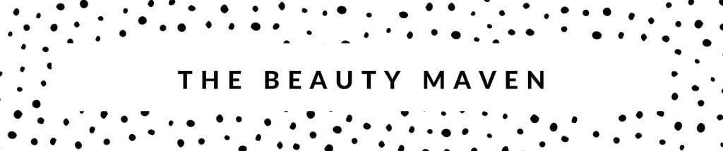 "polka dot banner with the words ""the beauty maven"" written across"