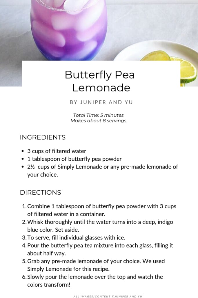 butterfly pea lemonade recipe