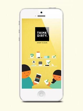 White I-phone with the Think Dirty App displayed on the screen